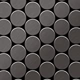 Azulejo mosaico de metal sólido Titanio Smoke cepillado gris oscuro 1,6 mm de grosor ALLOY Medallion-Ti-SB 0,73 m2