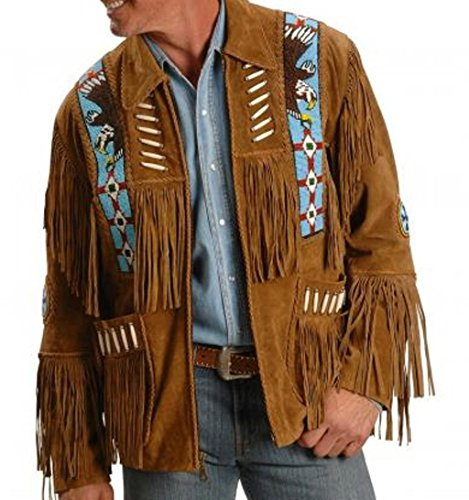 Native American Mens Western Cowboy Real Suede Leather Jackets 17 L -