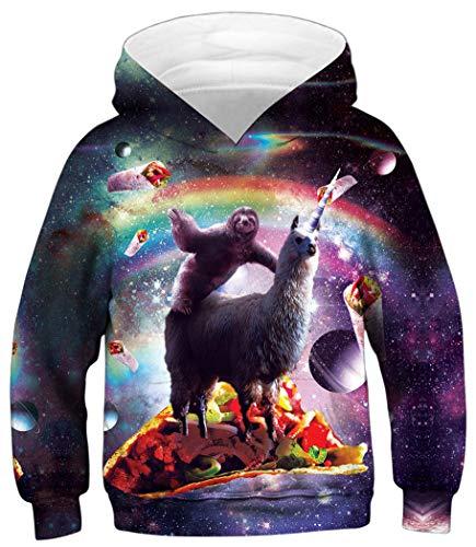 Ocean Plus Jungen Kapuzenpullover Digitaldruck Hoodie Langarmshirt Pullover Sweatshirts mit Kapuze (L (Körpergröße: 145-155cm), Faultier Lama) - Fleece-stoff Ocean