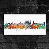 Kunstbruder Kunstdruck auf Leinwand - Augsburg Skyline - Light (div. Größen) 80x160cm