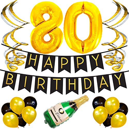 Sterling James Co. 80. Happy Birthday Girlande - Schwarz & Gold Deko Geburtstag, Luftballons, Pom Poms und Spiralgirlande Silber - Party Zubehör