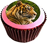 Tiger edible cake toppers (12 of 38mm 1.5inch) #238