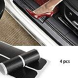 KolorFish 4pcs Carbon Fibre Sticker Car Door Sill Scuff Guard, Welcome Pedal Protect, Anti-Kick Scratch for Cars Doors