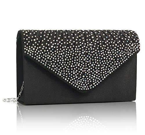 Essvita sera nozze nuziale partito borsa a mano portamonete per le donne strass frosted busta borsetta borse a tracolla nero