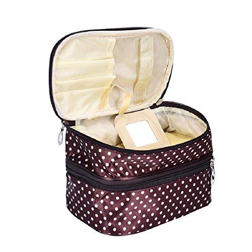 Tonsee Frauen Portable kosmetische Veranstalter Make-up Hardcase Zip Beutel(Caffee) (Trolley-make-up Veranstalter)