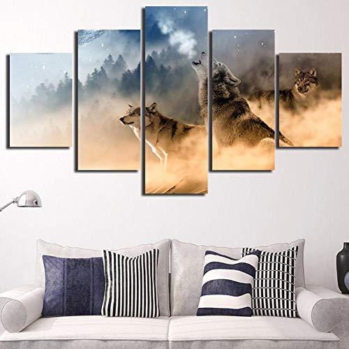 myonly 5 Panel Wall Art Poster gedruckt Gemälde auf Leinwand Moderne Ölgemälde Deko HD Wand Kunst Wölfe Muster Spray Ölgemälde Kern für Hotel Home Deko a -