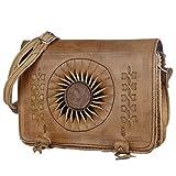 Leder-Tasche 'Dorah' 22x28cm Hellbraun • marokkanische Umhängetasche mit Ledernäherei • 100%...
