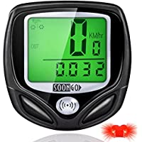 SOONGO Bike Computer Wireless Waterproof MPH&KM Cycle Speedometer With 16 Functions Multifunctional Bicycle Accessoreis Large LCD Display Backlight