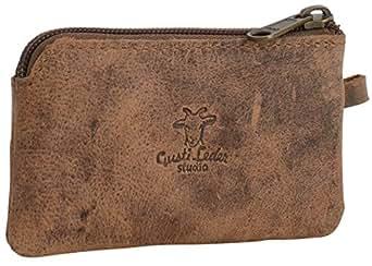 """Gusti Cuir studio """"Kendall"""" étui porte-clés en cuir étui pour clés porte-monnaie en cuir véritable en cuir de buffle avec anneau vintage marron 2A51-17-1"""
