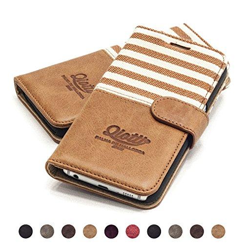 QIOTTI Hülle Kompatibel mit Galaxy S6 Edge Plus Ledertasche aus Hochwertigem Leder mit Kartenfach Handyhülle Tasche in Braun