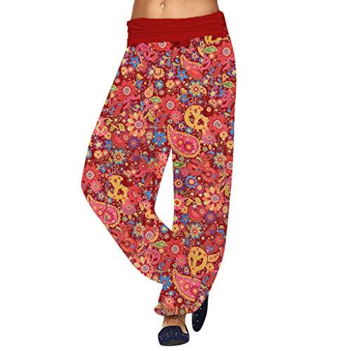 e Haremshose Sommerhose Locker Freizeithose Boho Pluder Aladin Strandhose High Taille Yoga Pilates Capri Hosen mit gesmoktem Bund Blumenmuster große Größen ()