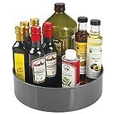 mDesign Plato giratorio para estantes de cocina – 29,2 cm de diámetro – Práctico soporte para especias para los armarios de la cocina – Especiero giratorio de plástico – gris antracita