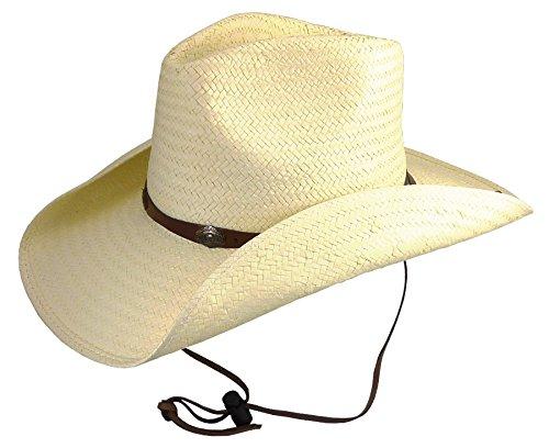 rs & Stripes Strohhut Bandit Edition mit Gratis Ersatz-Kinnriemen Westernhut Cowboyhut Westernkleidung Strohhut für Damen und Herren (Medium) Beige (Western Bandit Kostüme)