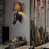 HBA Europäische Einfache Persönlichkeit Pferd Kopf Wand Lampe am Bett Schlafzimmer Flur Balkon Gang Hotel Wandleuchte (Weiß, Schwarz) (Farbe: Schwarz, Größe: S)