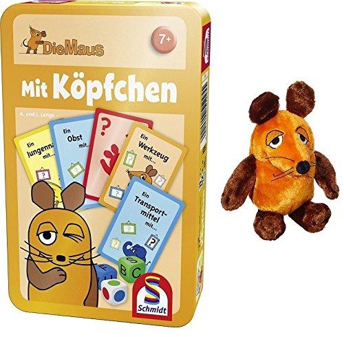 Die Maus / Sendung mit der Maus - Schmidt Spiele 51255 Mit Köpfchen + Plüschfigur Maus (25cm) im Set - Deutsche Originalware
