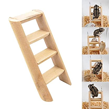 PanDaDa Small Animals Habitat Toy Funny Climbing Ladder Hamster Ladder Stand Wooden Climbing Toy Solid Playing Accessories 2