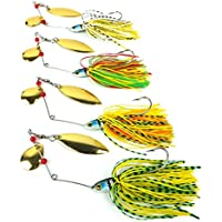 Aorace 4pcs/lot Spinner Lures Fishing Lure Spoon Fresh Water Shallow Water Bass Minnow Spinnerbait Lures 17.4g 0.61oz