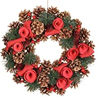 Dibor 36cm Natural Pine Cone and Red Berry Hanging Christmas Wreath Door Decoration (BJ91)