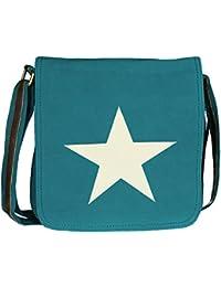 Mevina Damen Umhängetasche Stern aus Canvas Leder Optik Schultertasche Henkeltasche viele Farben - 26x30x9 cm (B x H x T)
