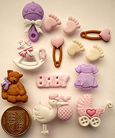 It's A Girl - Novelty Craft Buttons & Embellishments by Dress It Up