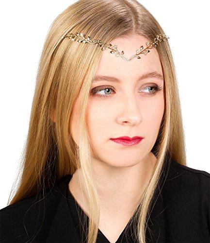 SIX Haarschmuck: Diadem für jedes Haar, V-Haarreif ideal für das Kostüm Fee/Elbe/Elfe, Blumenverzierung, ca. 36 cm, goldfarben (315-572)