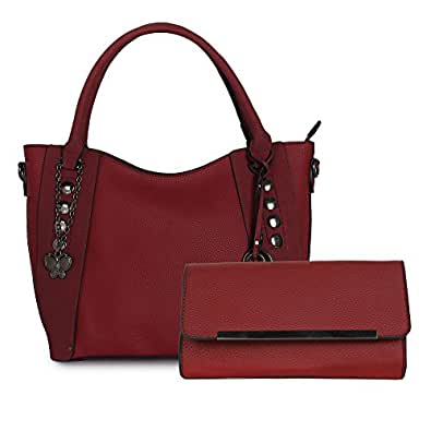 Butterflies Women's Synthetic Handbag and Clutch Combo (Red,BNS WB0377)