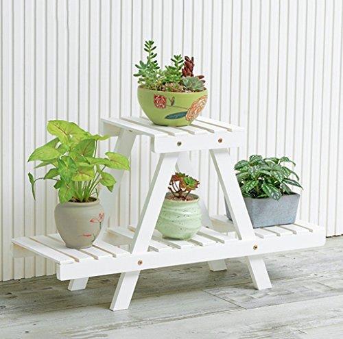 LIAN` Blumenregal Pflanzenständer 2 Tier Pflanzenregal Holzständer Blumen Eckregale Garten Display...