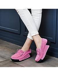 HOX Zapatos de Encaje Zapatos Casuales Ronda Sacudiendo Zapatos Zapatos Pantalones Base Gruesa Pendiente con Mis...