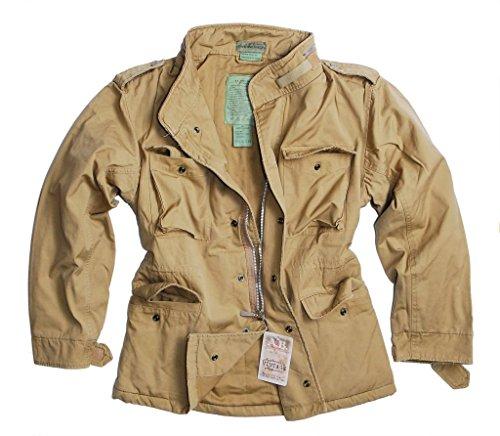 US Vintage Feldjacke Feldparka mit Futter Windschutz Herbstjacke Stone Washed Oliv, Schwarz oder Sandfarben S-3XL (L, Sandfarben) (Bdu Armee Shirt Vintage)
