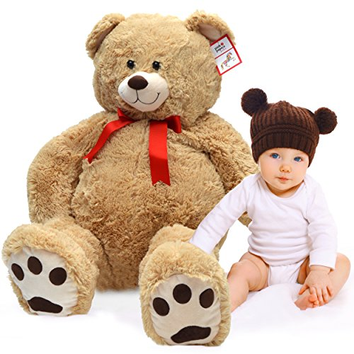 Kuschel Teddybär Monti, 100cm XXL Teddy in hellbraun – ein XXL Riesen Teddy-bär zum Liebhaben großer Plüschbär von Pink Papaya Toys EN 71 geprüfte Sicherheit (Plüsch-bär Teddy)