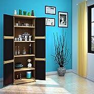 Nilkamal Freedom Mini Large (FML) Plastic Storage Cabinet (Weathered Brown & Biscuit)(35 x 59 x 182.