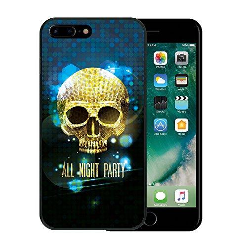 iPhone 7 Plus Hülle, WoowCase Handyhülle Silikon für [ iPhone 7 Plus ] Grau und Rosa Schädel Handytasche Handy Cover Case Schutzhülle Flexible TPU - Schwarz Housse Gel iPhone 7 Plus Schwarze D0351