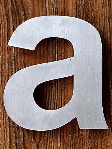 QT Moderne Hausnummer -Größe: 11 Zentimeter (Buchstabe a) Gebürsteter Edelstahl