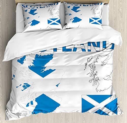 ABAKUHAUS Schottland Bettbezug Set King Size, Landkarte und die Flagge, Kuscheligform Top Qualität 3 Teiligen Bettbezug mit 2 Kissenbezüge, Kobalt-Blau-Weiß