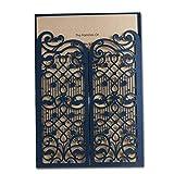50X WISHMADE Einladungskarten Hochzeit Mit Blau Lasercut Spitze Design Blanko Set 50 Stücke Für Geburtstag Graduierung Partei Favors CW5102
