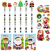 Oxford Novelties 30 Kids Christmas Pencils & Erasers & 30 Mini Note Pads With 3D STICKERS