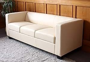 Canapé 3 places en cuir Lille crème avec coussins, P75 x L191 x H70 cm -PEGANE-