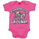 Body bebé Espanyolista Perico desde la cuna RCD Espanyol fútbol - Rosa, 6-12 meses