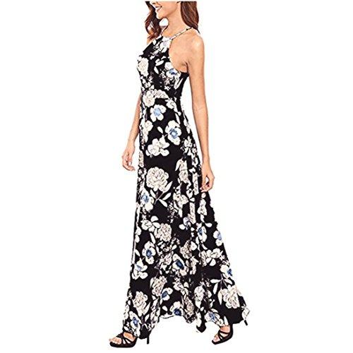 Damen Kleider Frauen Dress Sommerkleider Vintage Boho Maxikleid Ärmelloses Beiläufiges Strandkleid Blumenkleid Abendkleid Floralen Druck Minikleid Partykleid Cocktailkleid (S, Sexy Schwarz)