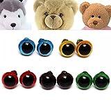 Kungfu Mall 100pcs 8mm 5 couleurs rondelles yeux de sécurité en peluche marionnettes ours poupée jouets faits à la main artisanat d'outils de bricolage en plastique