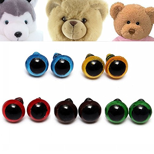 100pcs 8mm 5 colores DIY Teddy Oso muñeca ojos Con arandelas Ojos de seguridad de plástico marionetas Juguetes Herramienta artesanal hecha a mano