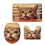 Hugs Idea Badezimmer-Teppich-Set, niedliche Tiere, 3-teilig, Badematte, Contour- und Toilettendeckel, Flanell, Funny Cat, S