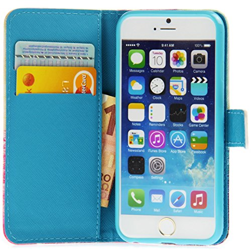 Handy Lux® Schutz Hülle Tasche Kartenfächer Flip Case Etui Cover Involto Motiv Design Hülle BookStyle (Apple iPhone 5 / 5S / SE, Gameboy) Live the Life you love