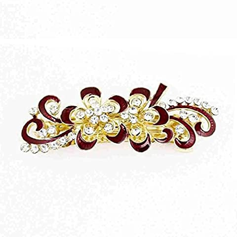 TOOGOO(R)Bling Rhinestones Decor Swirl Floral French Hair Clip Red Gold