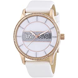 Just Cavalli Women's Quartz Watch with White Dial Analogue Display and White Leather Bracelet R7251127501