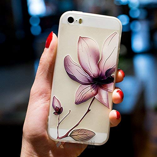 Cocomii Cute Armor iPhone SE/5S/5 Hülle [Fühlt Sich Gut In Der Hand] Hübsch 3D-Muster Relief Silikon Stoßfest Gehäuse Ganzkörper Case Schutzhülle for Apple iPhone SE/5S/5 (C.Lotus Flowers)
