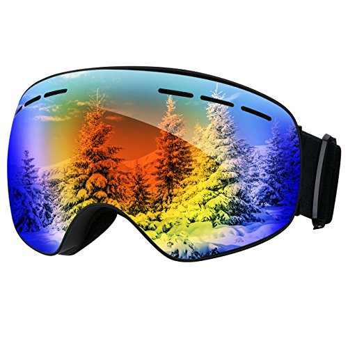 Mpow Skibrille, Snowboardbrille mit Anti-Fog-UV-Schutz Auswechselbare sphärische Doppel-Lens, verbesserte Belüftung für Skifahren, Snowboarden, Skaten