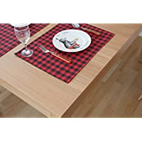 CHEZMAX Plaid Cotton Linen Reversible Picnic Table Runner 4pcs Placemats Set Party Banquet Decoration Outdoor Tablecloths without Tassles for Dining Table Black and Red