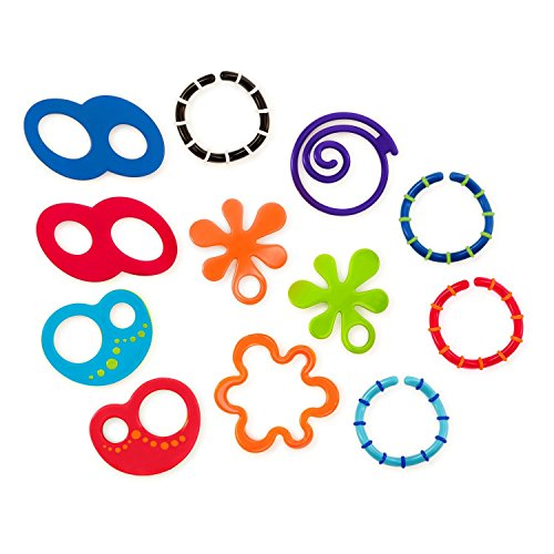 Oball Linky Loops, Kinderwagenkette, 12 Verbindungsglieder, BPA-frei, leicht zu greifen, zum Spielen oder Befestigen von Spielsachen