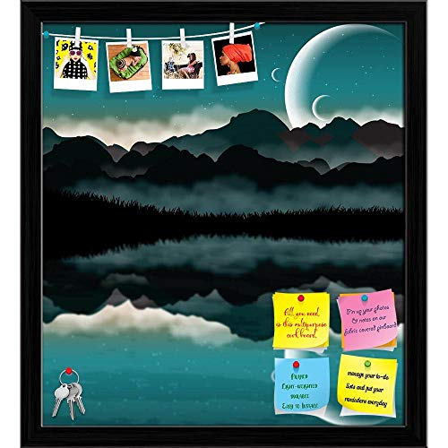 Artzfolio Science Fiction Landscape Printed Bulletin Board Notice Pin Board | Black Frame 20 X 22.1Inch (Science-display-board)